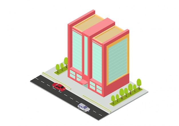 Edificio isometrico di hotel, appartamenti, scuole o grattacieli