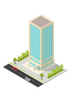 Edificio isometrico di hotel, appartamenti, uffici o grattacieli