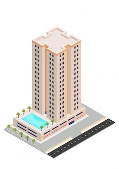 Edificio isometrico di hotel o grattacielo