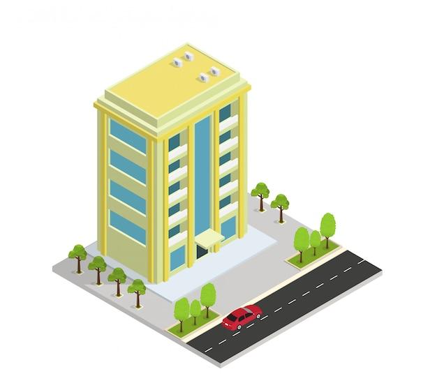 Edificio isometrico di vettore hotel, appartamento o grattacielo