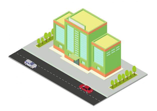 Edificio isometrico di vettore hotel, appartamento, scuola o grattacielo