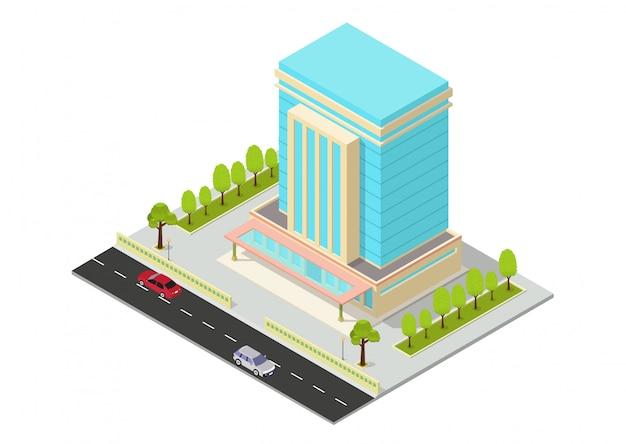 Edificio isometrico di vettore hotel, appartamento, ufficio o grattacielo