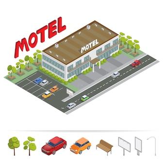 Edificio isometrico. motel con parcheggio. motel isometrico.
