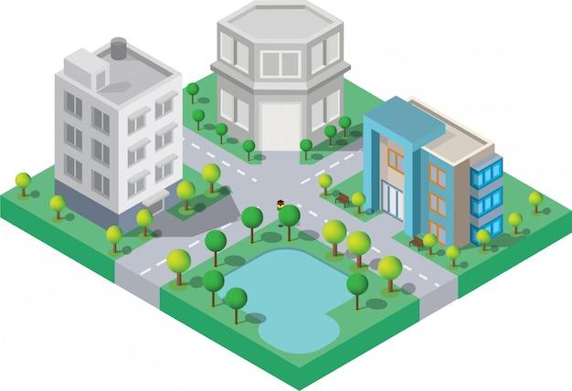 Edificio isometrico. sono sull'iarda con la strada e gli alberi. città astuta e parco pubblico