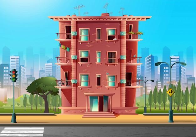 Edificio multipiano moderno in stile fumetto vettoriale, architettura in stile cartone animato.