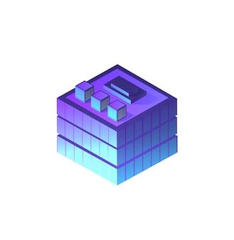 Edificio notturno isometrico