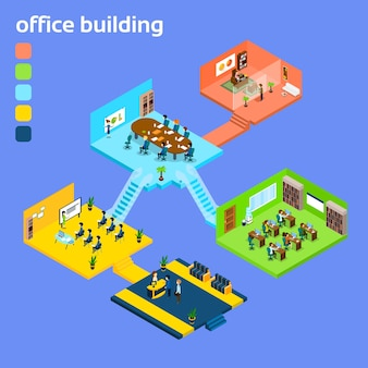 Edificio per uffici 3d isometrico interno