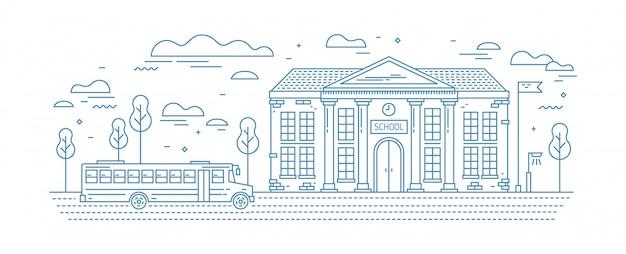 Edificio scolastico classico con colonne e autobus per bambini o alunni che guidano su strada tracciata con linee di contorno su bianco