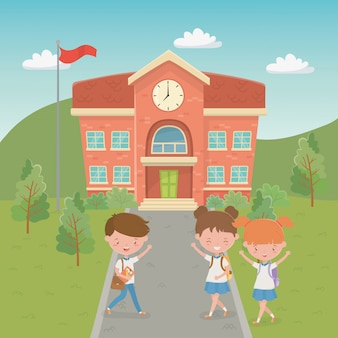 Edificio scolastico con bambini nella scena