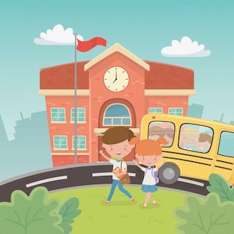 Edificio scolastico e autobus con bambini nella scena
