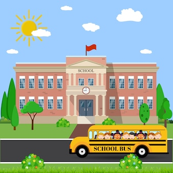 Edificio scolastico e autobus