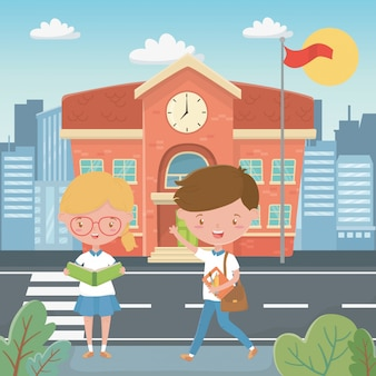 Edificio scolastico e bambini