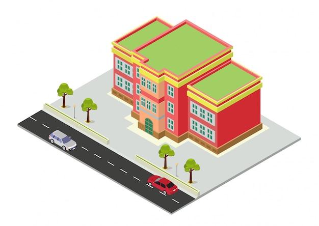 Edificio scolastico isometrico
