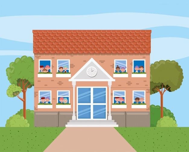 Edificio scolastico nella scena del paesaggio