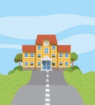 Edificio scolastico nella scena stradale