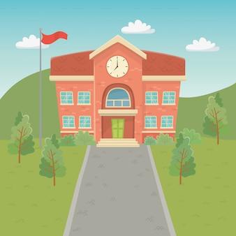Edificio scolastico nella scena
