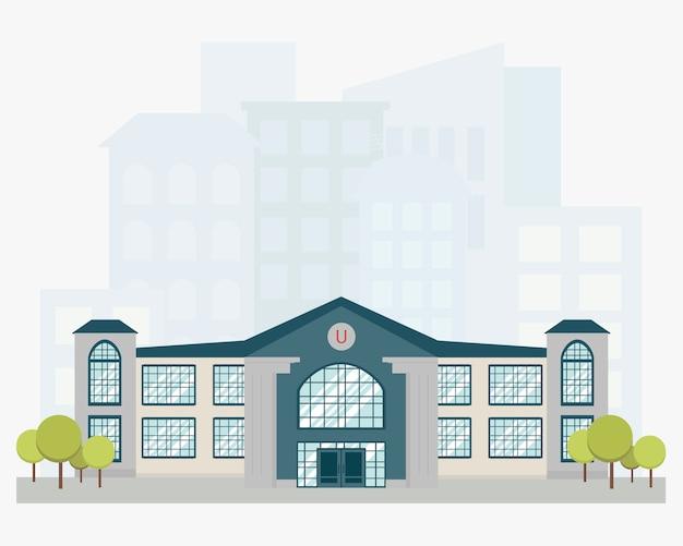 Edificio universitario con skyline della città
