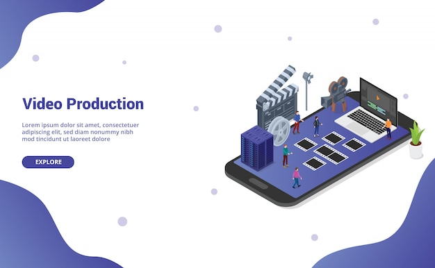 Editing e produzione di video mobile sullo smartphone per l'homepage di destinazione del modello di sito web
