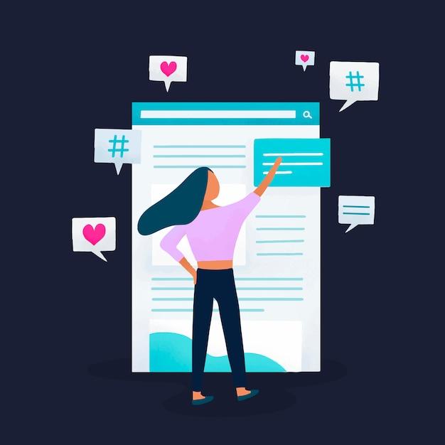 Editor di contenuti che modifica il vettore del feed