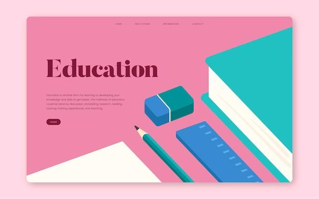 Educazione e apprendimento grafica del sito web informativo