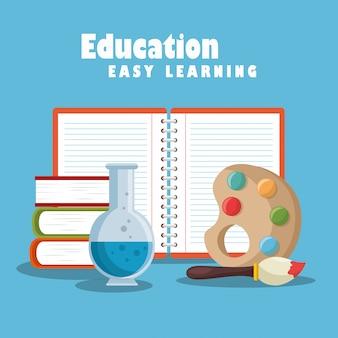 Educazione facile apprendimento imposta icone