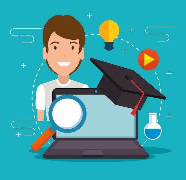 Educazione in linea con il portatile