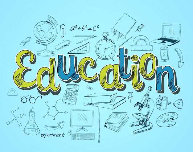 Educazione lettering concetto