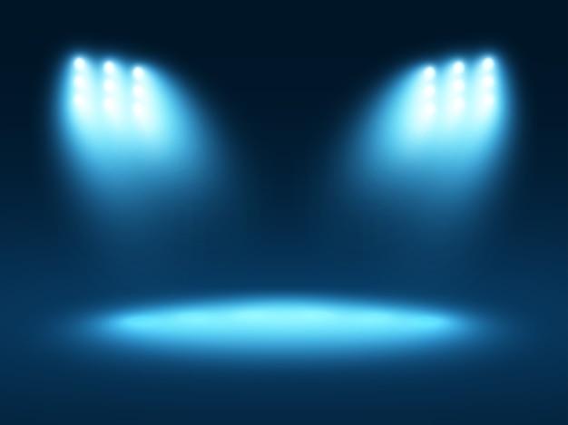 Effetti di luce astratti sfondo blu con pochi faretti
