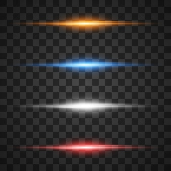 Effetti di luce incandescente, stella scoppiata con scintillii su trasparente