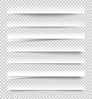 Effetti di ombra di carta realistici trasparenti