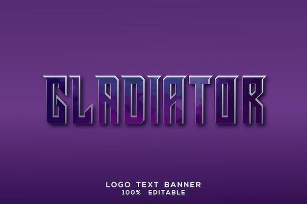 Effetto 3d dell'insegna del testo di logo del gladiatore