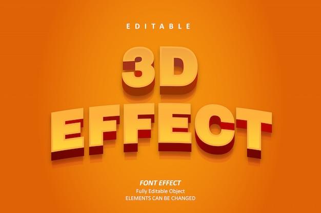Effetto 3d orange bold text effect premium