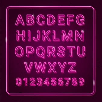 Effetto al neon di alfabeto 3d con i punti culminanti