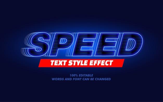 Effetto audace moderno di stile del testo di velocità della luce blu per il titolo di film