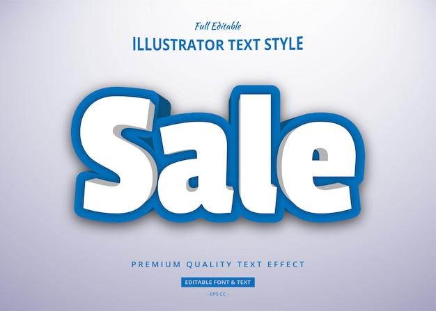 Effetto blu bianco di stile del testo di vendita