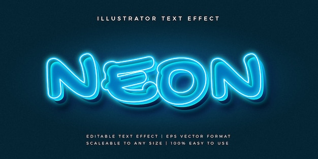 Effetto blu del carattere di stile del testo 3d al neon