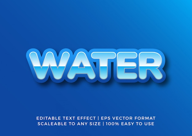 Effetto blu del testo dell'acqua dell'oceano