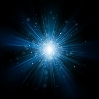 Effetto burst di luce blu.