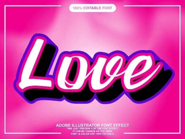 Effetto carattere adesivo semplice script amore