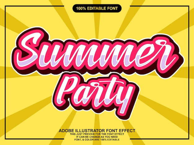 Effetto carattere adesivo vintage semplice festa d'estate