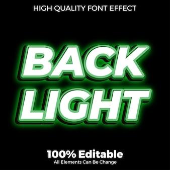 Effetto carattere modificabile verde grassetto retroilluminazione stile testo