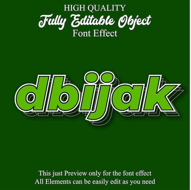 Effetto carattere modificabile verde grassetto testo 3d
