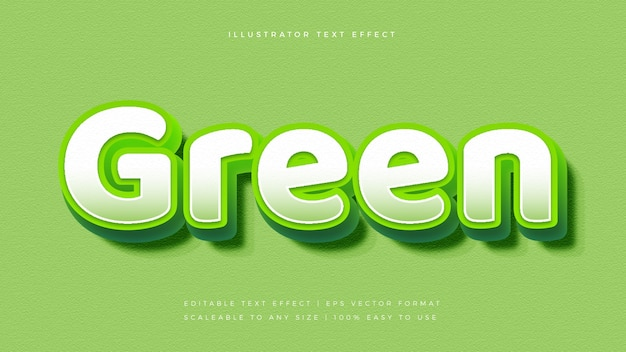 Effetto carattere stile testo vibrante 3d verde