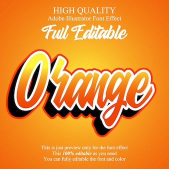 Effetto carattere tipografia modificabile moderno script arancione