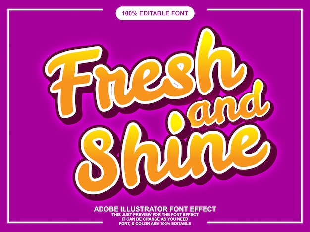 Effetto carattere tipografico modificabile lettere fresche e brillanti