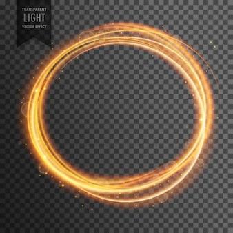 Effetto cerchio di luce d'oro su sfondo trasparente