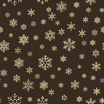 Effetto decorazione di buon natale vacanza. modello senza saldatura fiocco di neve d'oro.