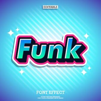 Effetto del testo adesivo funk fresco effetto font moderno
