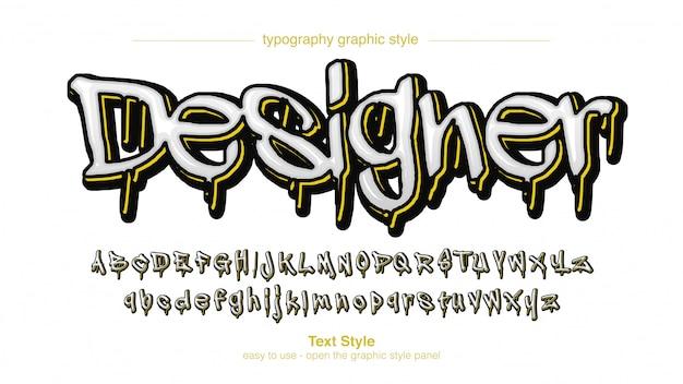 Effetto del testo dei graffiti della sgocciolatura gialla bianca