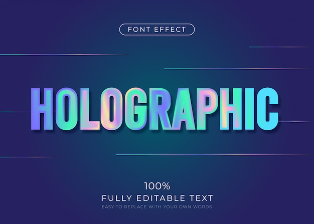 Effetto del testo olografico. stile del font